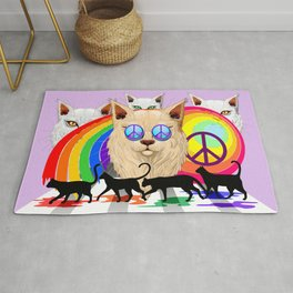 'Imagine' Cat Peace and Love Surreal Sixties Rug