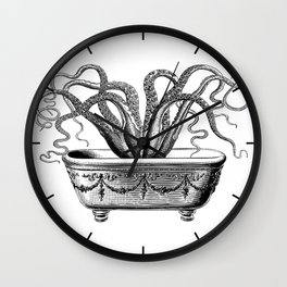 Tentacles in the Tub | Octopus | Black and White Wall Clock