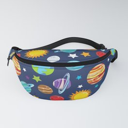 Space Pattern, Planets, Astronomy, Cosmos, Galaxy Fanny Pack