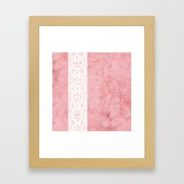 Delicate White Stripe Butterfly Pattern Pink Texure Design Framed Art Print