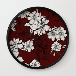 Red lisianthus Wall Clock