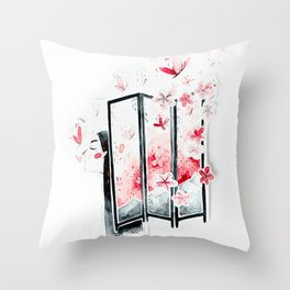 Sakura lady Throw Pillow