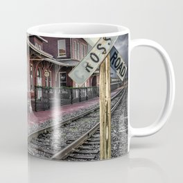 Old Train Station with Crossing Sign in Gutherie Oklahoma No.0840 A Fine Art Railroad Landscape Phot Coffee Mug