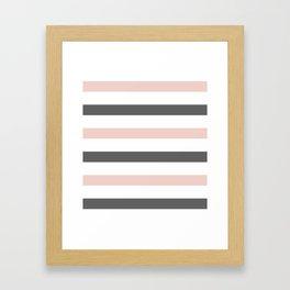 Grey and Pink Stripes Framed Art Print