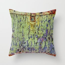 Cracked Vintage Paint Abstract Throw Pillow