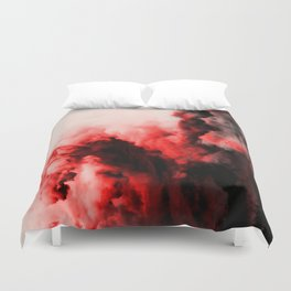 In Pain - Red And Black Abstract Duvet Cover