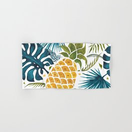 Golden pineapple on palm leaves foliage Hand & Bath Towel