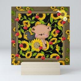 Rustic Sunflowers Bear And Black Crow Ladybugs Mini Art Print