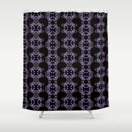 Violet square flowers on black Shower Curtain