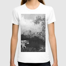 Wolf Walking Watercolor (Black and White) T-shirt