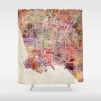 los angeles Shower Curtains featuring Los angeles by MapMapMaps.Watercolors