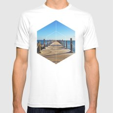 Ocean Walk - Geometric Photography Mens Fitted Tee White MEDIUM