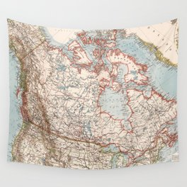 Vintage Map of Canada (1905) Wall Tapestry