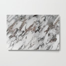 Classic White Marble Silver Glitter Glam #1 (Faux Glitter) #marble #decor #art #society6 Metal Print