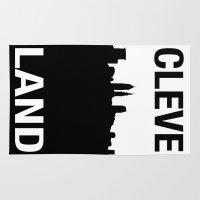 cleveland Area & Throw Rugs featuring CLEVELAND SKYLINE by Christina Sadowski