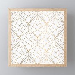 Geometric Gold Pattern With White Shimmer Framed Mini Art Print