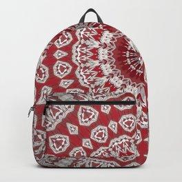 Red White Bohemian Mandala Design Backpack
