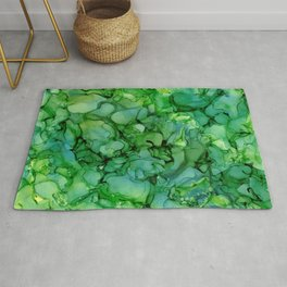 Green Abstract: Original Alcohol Ink Painting Rug