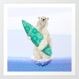 Polar bear & Surf (green) Art Print