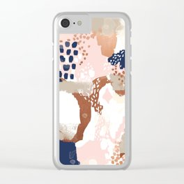 Sonia - rose gold navy copper modern abstract rosegold trendy pattern cell phone accessories Clear iPhone Case