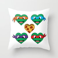 ninja turtle Throw Pillows featuring Ninja Turtle Hearts by Sam Skyler