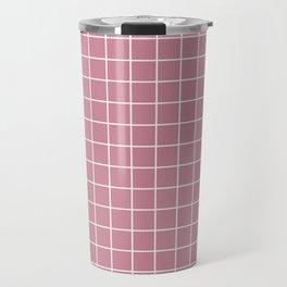 Puce - violet color - White Lines Grid Pattern Travel Mug