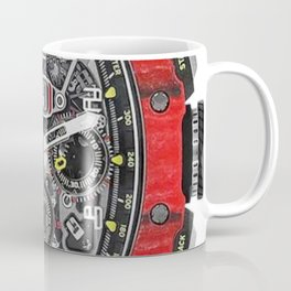 Richard Mille 11-03 Flyback Red Quartz TPT NTPT in Carbon on Red Rubber Strap with Transparent Dial Coffee Mug