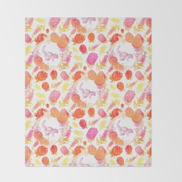 Beautiful Australian Print - Australian Native Florals with Possum Illustrations Throw Blanket