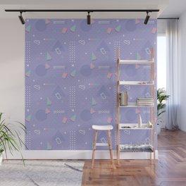 Retro geometrical lavender purple coral teal 80's pattern Wall Mural