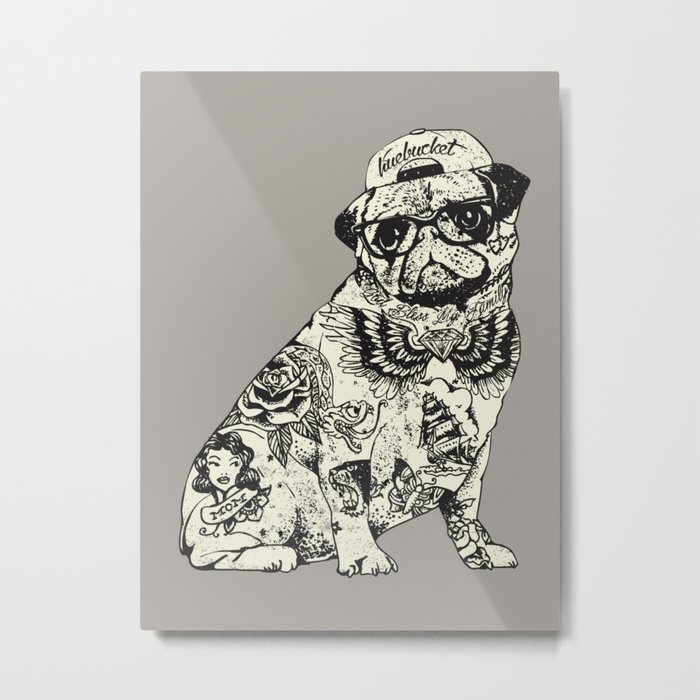 Pug Tattoo Metal Print