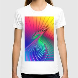 Outburst Spiral Fractal neon colored T-shirt