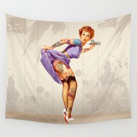 redhead Wall Tapestries featuring Redhead pin-up by metroymedio