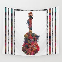 guitar Wall Tapestries featuring Guitar Flower by Eleaxart