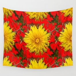 YELLOW DANDELION BLOSSOMS ON RED ORGANIC ART Wall Tapestry