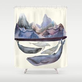 Whales Swiming under the Moutains Shower Curtain