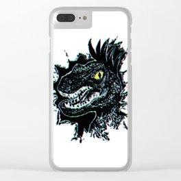 Grunge Velociraptor Portrait Clear iPhone Case