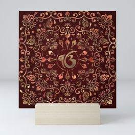 Ek Onkar / Ik Onkar  Gemstone red and gold Mini Art Print