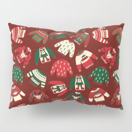 Ugly Christmas Sweaters Red Green Beige Pillow Sham