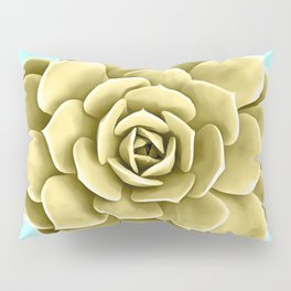 Yellow Succulent Plant on Teal Pillow Sham
