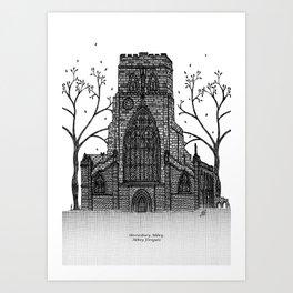 Shrewsbury Abbey, Abbey Foregate. Black and white Art Print