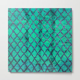 -A4- Stylish Green Traditional Moroccan Carpet Texture. Metal Print