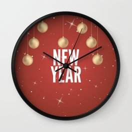 Happy New Year Merry Christmas winter holidays Wall Clock