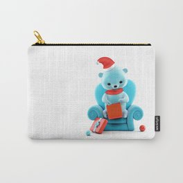 Teddy Bear With Christmas Box on White Carry-All Pouch