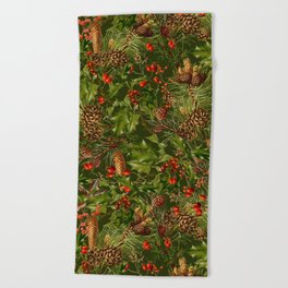 Traditional Holly Christmas Pattern Beach Towel