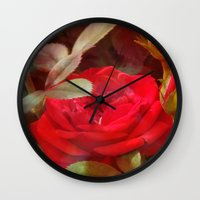 ruby Wall Clocks featuring Ruby by Aubrey