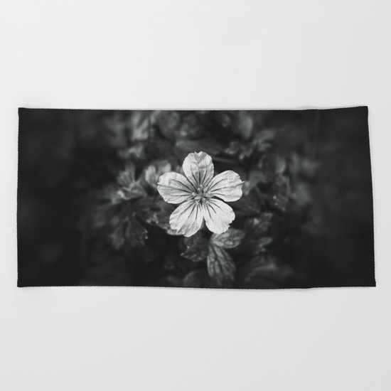 Minimalistic black and white flower petal Beach Towel