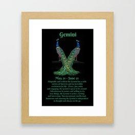 Cute Peacock Zodiac Sign of Gemini Framed Art Print