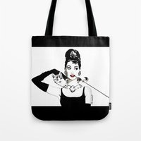 audrey Tote Bags featuring Audrey by Clementine Petrova