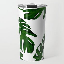 Simply Tropical Palm Leaves in Jungle Green Travel Mug