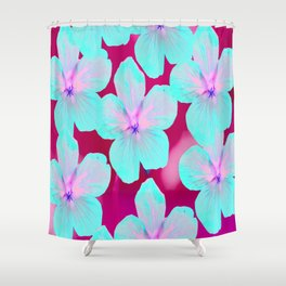 Turquoise Retro Flowers On Pink Background #decor #society6 Shower Curtain